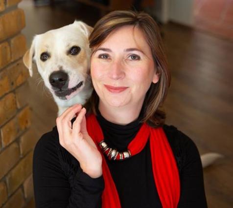 New CEO Michelle Robertson with dog Bowie